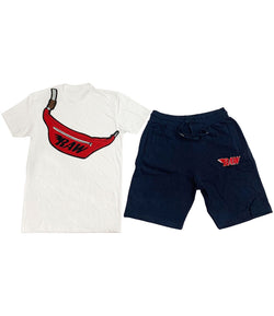 Pouch Chenille Crew Neck and Cotton Shorts Set
