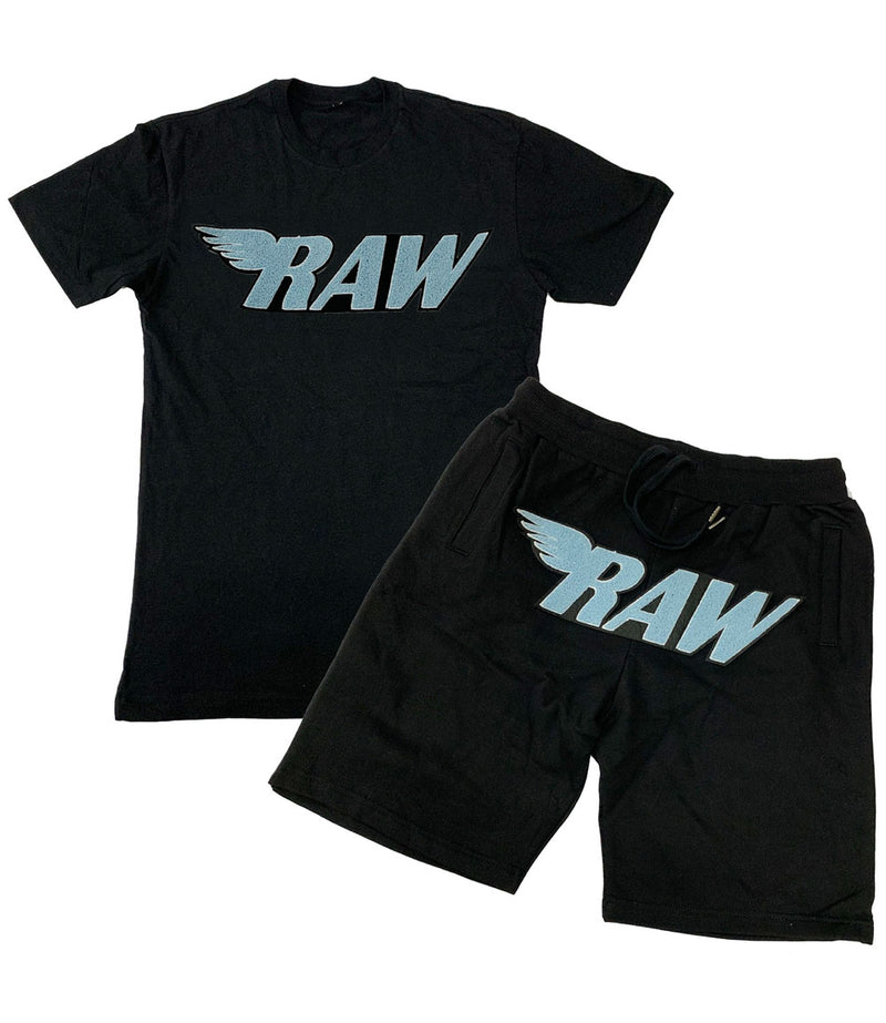 RAW Baby Blue Chenille Crew Neck and Cotton Shorts Set - Black Tees / Black Shorts