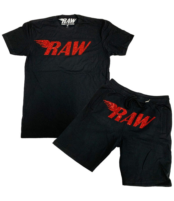 RAW Red Bling Crew Neck and Cotton Shorts Set