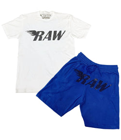RAW Black Bling Crew Neck and Cotton Shorts Set