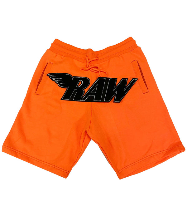 RAW Black Chenille Cotton Shorts - Neon Orange
