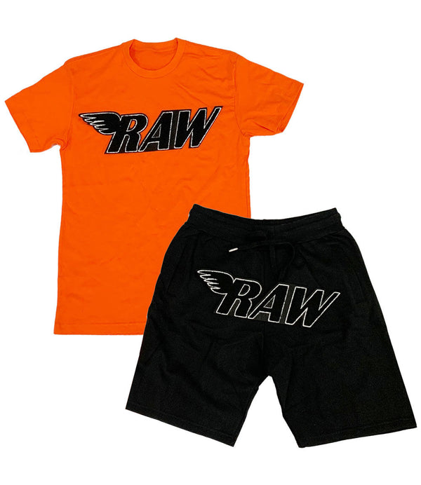 RAW Black Chenille Crew Neck and Cotton Shorts Set