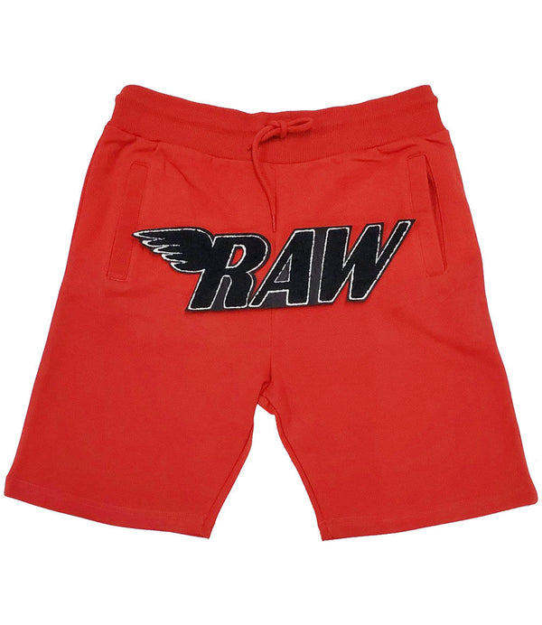 RAW Black Chenille Cotton Shorts - Red