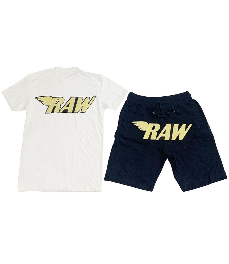RAW Banana Yellow Chenille Crew Neck and Cotton Shorts Set