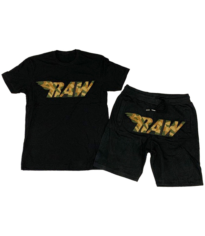 RAW Camo Chenille Crew Neck and Cotton Shorts Set
