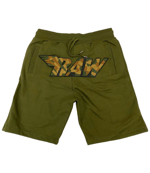 RAW Camo Chenille Cotton Shorts - Olive