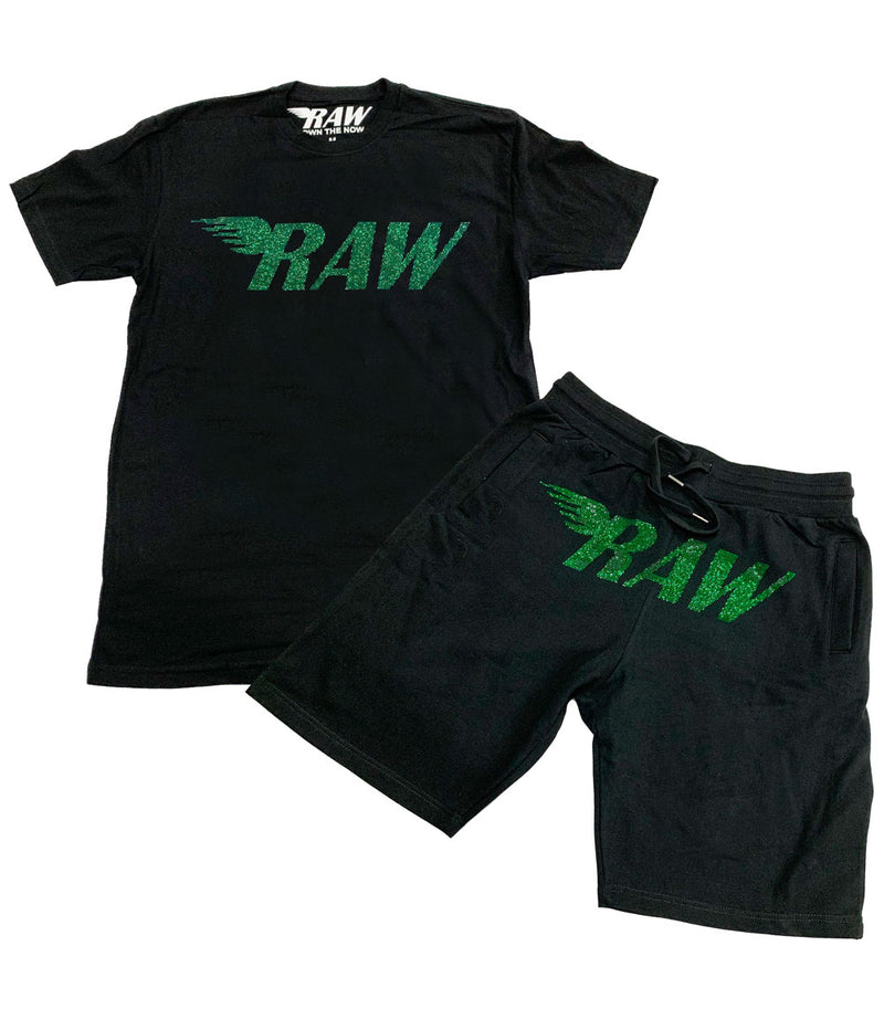 RAW Emerald Bling Crew Neck and Cotton Shorts Set