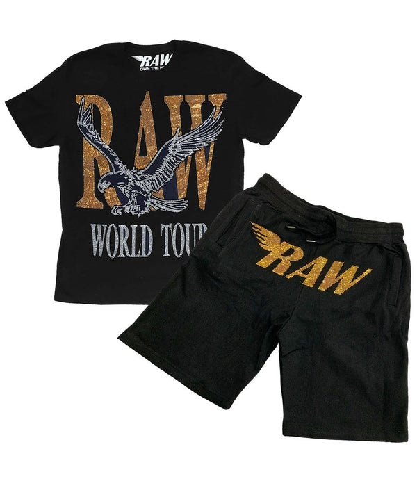 RAW World Tour Gold Bling Crew Neck and RAW Gold Bling Cotton Shorts Set - Black Tee / Black Shorts