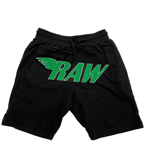 RAW Green Chenille Cotton Shorts - Black