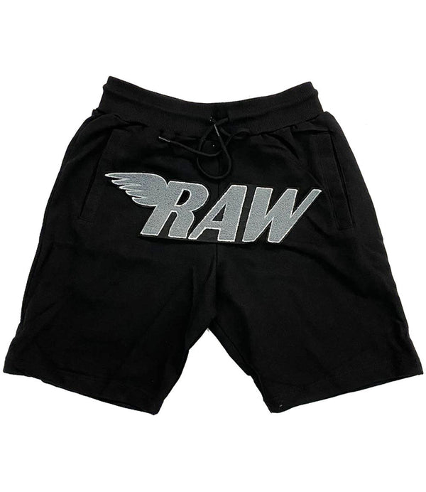 RAW Grey Chenille Cotton Shorts - Black