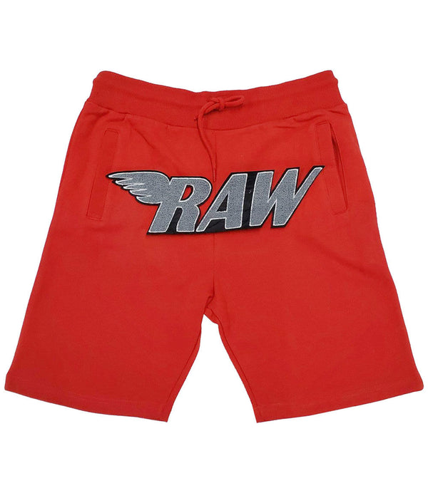 RAW Grey Chenille Cotton Shorts - Red