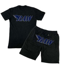 RAW Midnight Navy Chenille Crew Neck and Cotton Shorts Set - Black Tees / Black Shorts