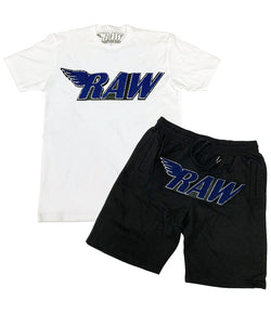 RAW Midnight Navy Chenille Crew Neck and Cotton Shorts Set