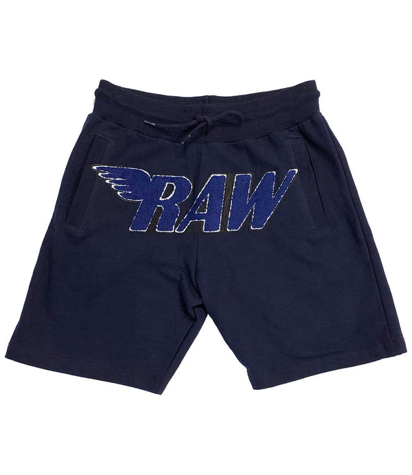 RAW Navy Chenille Cotton Shorts - Navy