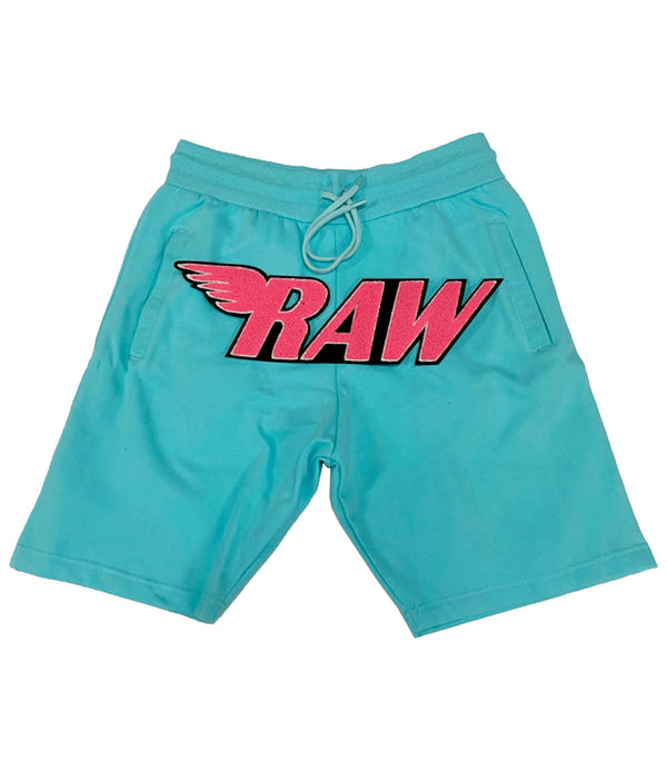 RAW Neon Pink Chenille Cotton Shorts - Aqua