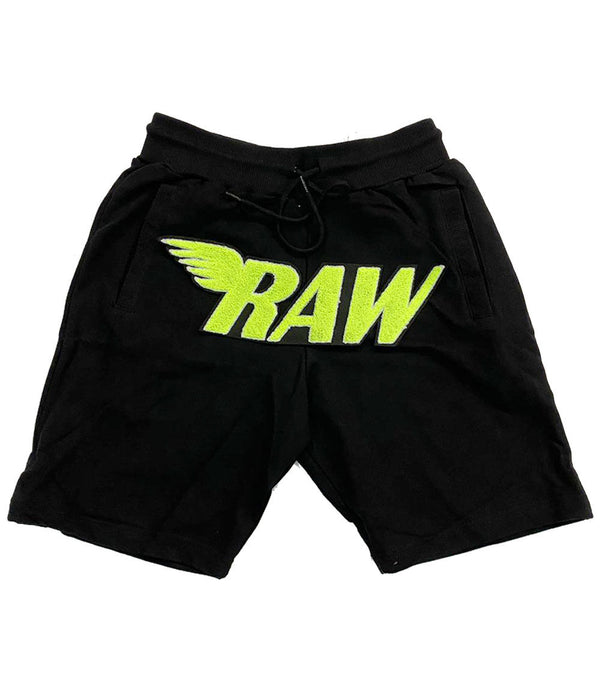RAW Neon Yellow Chenille Cotton Shorts - Black