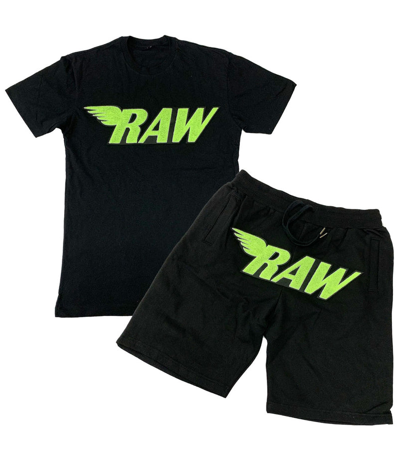RAW Neon Yellow Chenille Crew Neck and Cotton Shorts Set