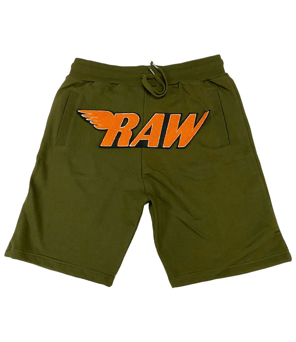 RAW Orange Chenille Cotton Shorts - Olive