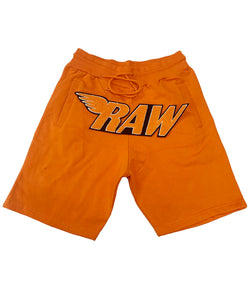 RAW Orange Chenille Cotton Shorts - Orange