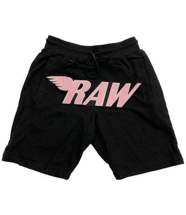 RAW Pink Chenille Cotton Shorts - Black