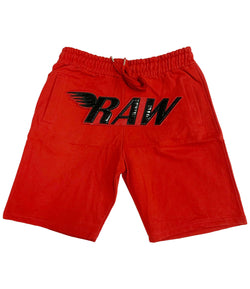 RAW PU Red Cotton Shorts