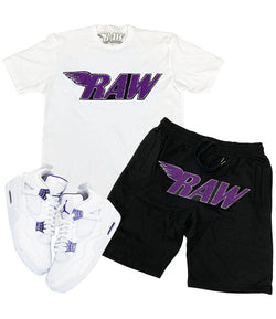 RAW Purple Chenille Crew Neck and Cotton Shorts Set