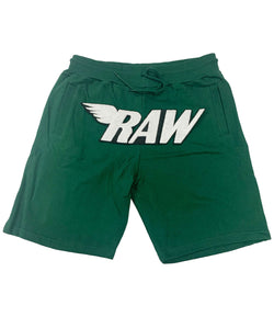 RAW White Chenille Cotton Shorts - Forest Green