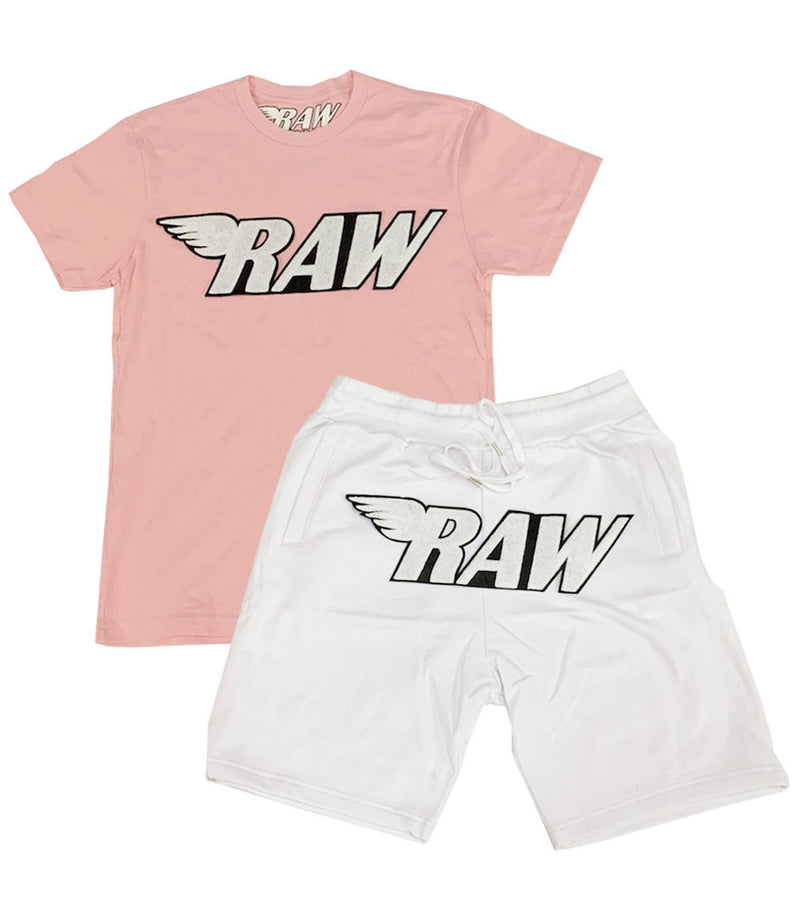 RAW White Chenille Crew Neck and Cotton Shorts Set
