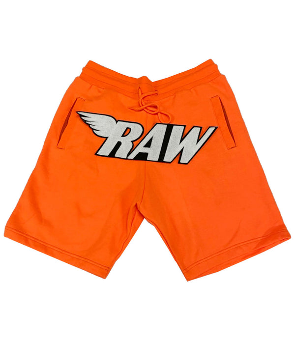 RAW White Chenille Cotton Shorts - Neon Orange