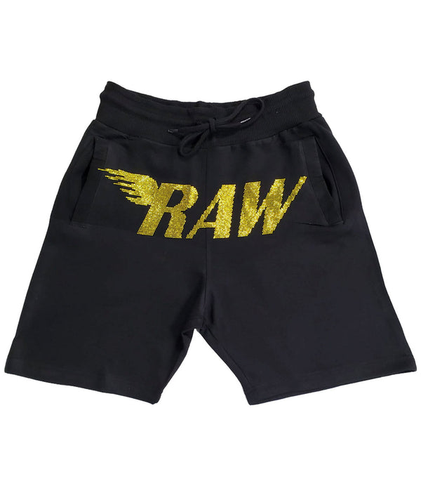 RAW Yellow Bling Cotton Shorts - Black
