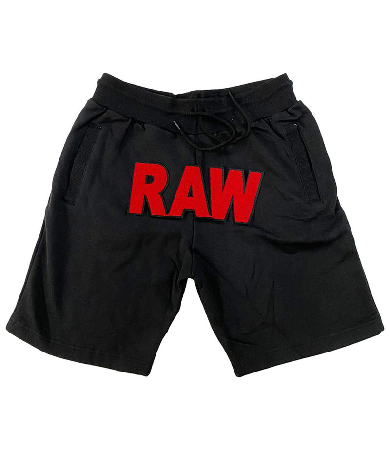 Basic RAW Red Chenille Cotton Shorts - Black