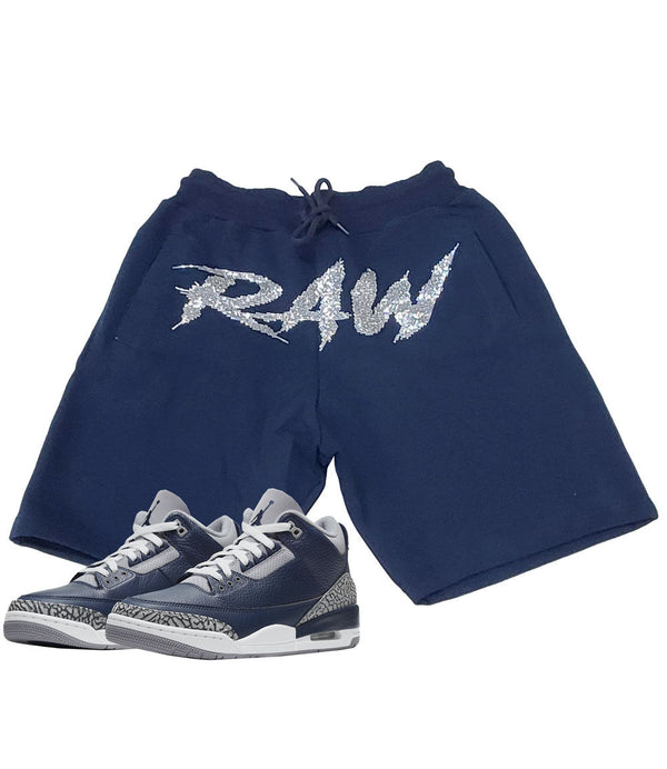 Cursive RAW Clear Bling Cotton Shorts - Navy