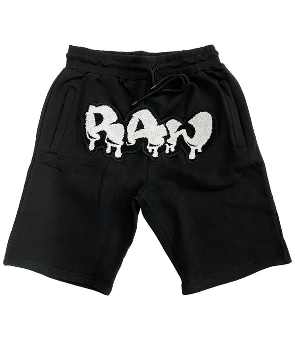 RAW Drip White Chenille Cotton Shorts - Black