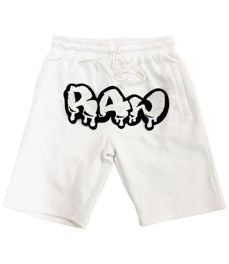 RAW Drip White Chenille Cotton Shorts - White
