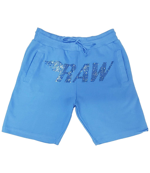 RAW Wing Light Blue Bling Cotton Shorts - Carolina Blue