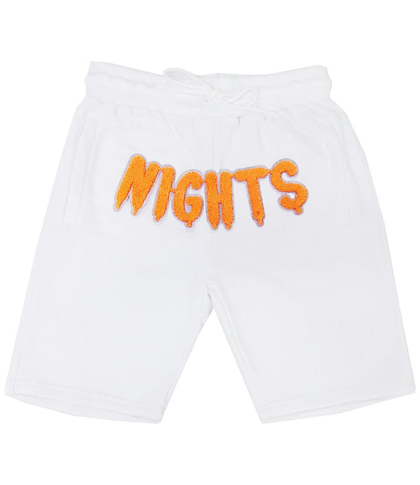 RAW Nights Orange Chenille Cotton Shorts - White