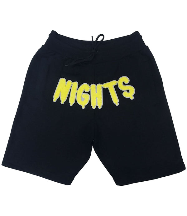 RAW Nights Yellow Chenille Cotton Shorts - Black