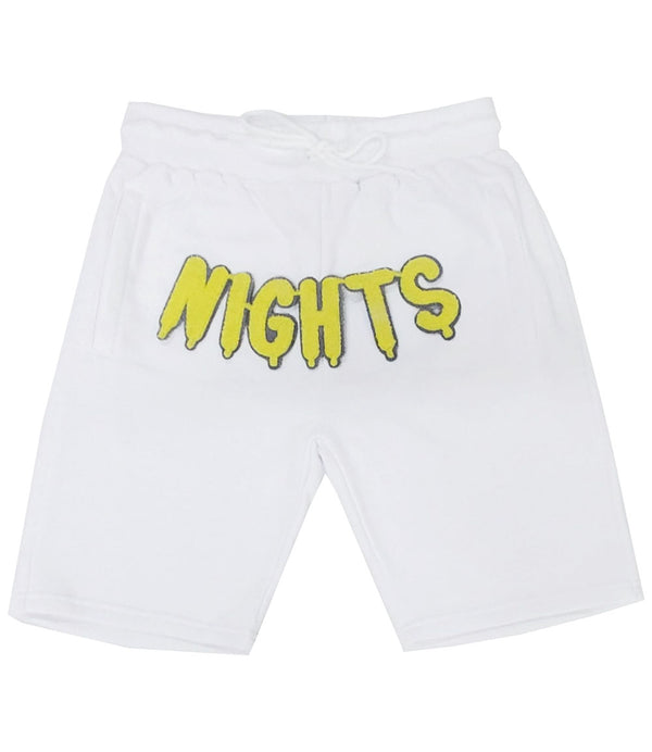RAW Nights Yellow Chenille Cotton Shorts - White