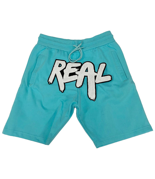 Real White Chenille Cotton Shorts - Aqua