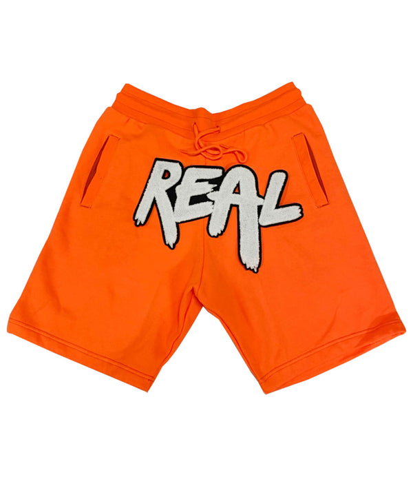 Real White Chenille Cotton Shorts - Neon Orange