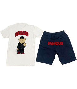 Rich and Famous Chenille Crew Neck and Cotton Shorts Set - White Tees / Navy Shorts