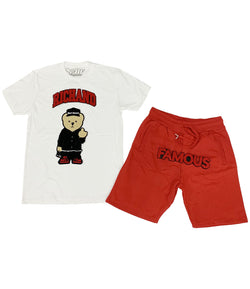 Rich and Famous Chenille Crew Neck and Cotton Shorts Set