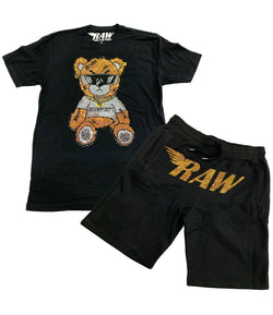 Teddy Bling Crew Neck and Cotton Shorts Set