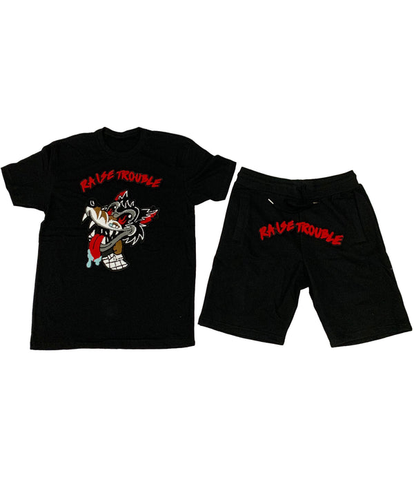 Raise Trouble Wolf Chenille Crew Neck and Cotton Shorts Set - Black Tees / Black Shorts