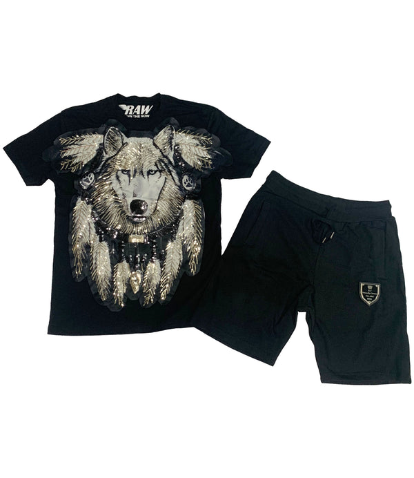 Wolf Hand Made Sequin Crew Neck and Cotton Shorts Set - Black Tees / Black Shorts