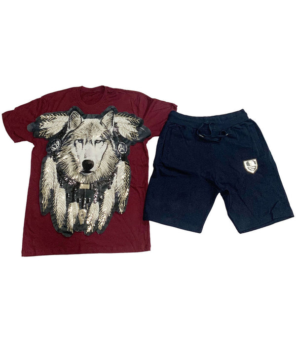 Wolf Hand Made Sequin Crew Neck and Cotton Shorts Set - Maroon Tees / Navy Shorts
