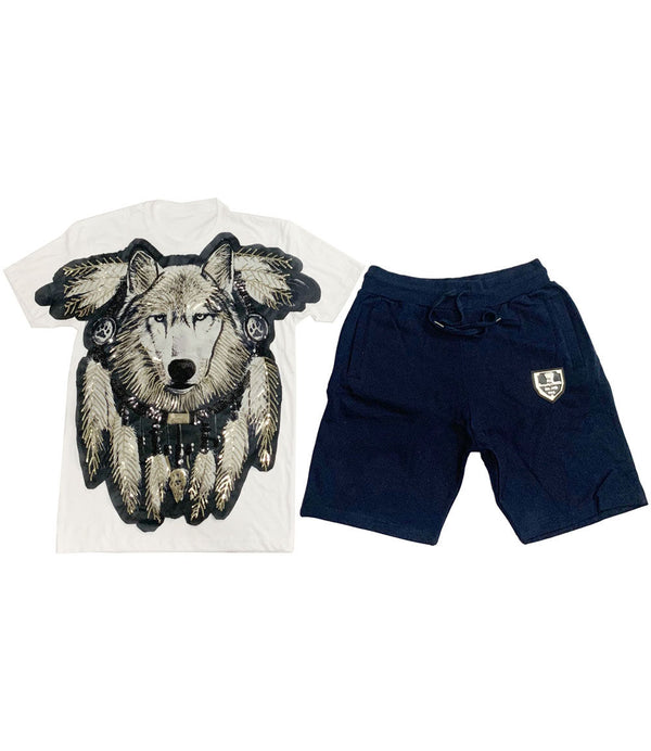 Wolf Hand Made Sequin Crew Neck and Cotton Shorts Set - White Tees / Navy Shorts