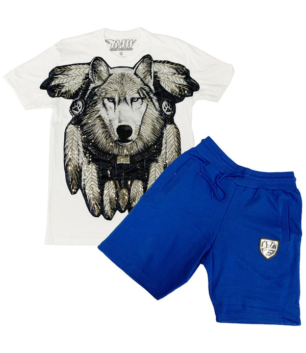 Wolf Hand Made Sequin Crew Neck and Cotton Shorts Set - White Tees / Royal Shorts