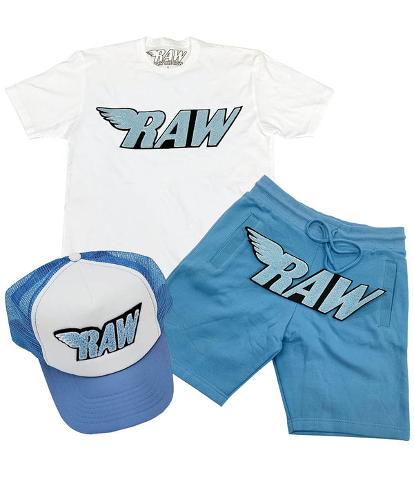 RAW Baby Blue Chenille Crew Neck, Cotton Shorts and Taw Hat Set - White Tee / Carolina Blue Shorts / Blue/White Hat