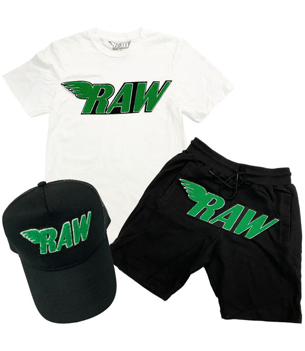 RAW Green Chenille Crew Neck, Cotton Shorts and Hat Set - White Tee / Black Shorts / Black Hat